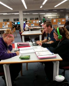 Freshman Sam Kessler, Ashton King, and Katie McGlacken study their various subjects in study tables.